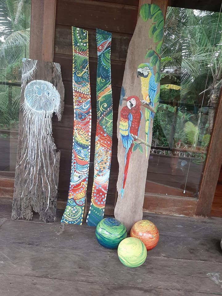 Driftwood paintings and gourd lights - Art projects for 2020 Colina Studio